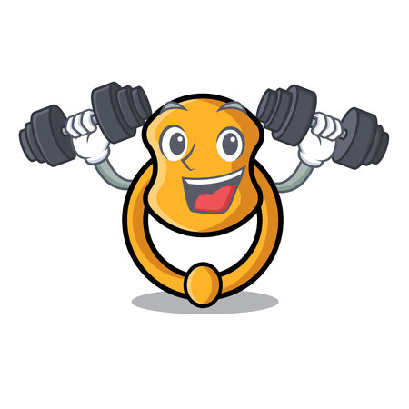 Fitness door knocker isolated on character cartoon vector illustration