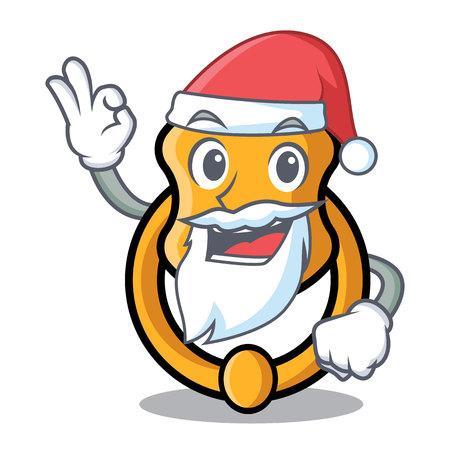 Santa vintage door knocker on mascot cartoon vector illustration