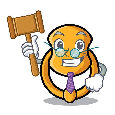 Judge vintage door knocker on mascot cartoon vector illustration