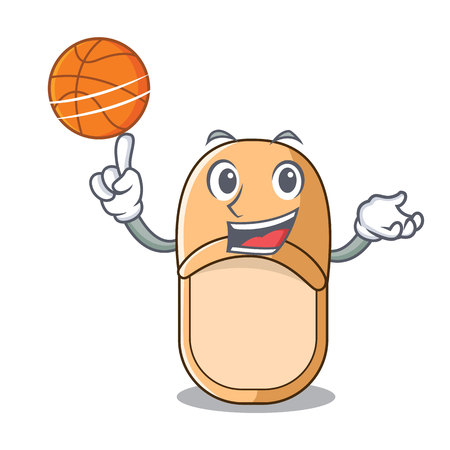 With basketball pair of cute home slippers character vector illustration