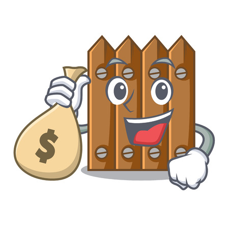 With money bag brown wooden fence isolated on character vector illustration