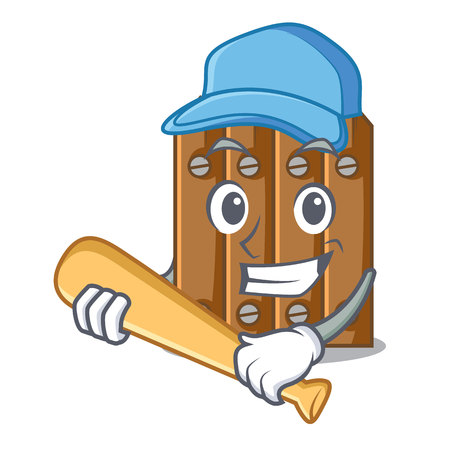 Playing baseball brown wooden fence isolated on character vector illustration 일러스트