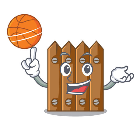 With basketball brown wooden fence isolated on character vector illustration