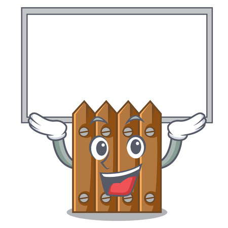 Up board brown wooden fence isolated on character vector illustration