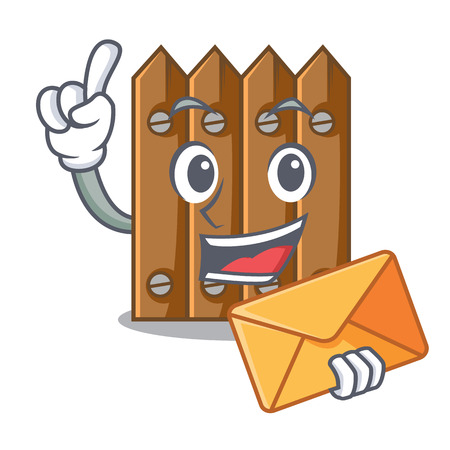 With envelope character close up on wooden fence door vector illustration