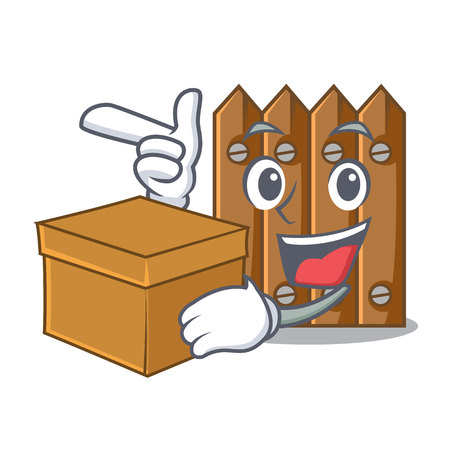 With box character close up on wooden fence door vector illustration