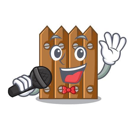 Singing cartoon wooden fence over the grass vector illustration Vector Illustration