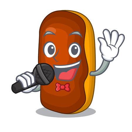 Singing mascot cartoon eclair cake color chocolate vector illustration 向量圖像