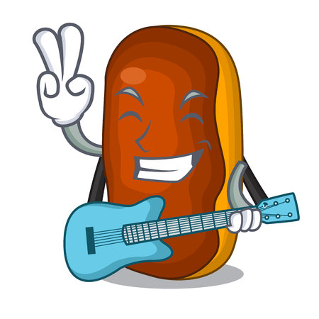 With guitar mascot cartoon eclair cake color chocolate vector illustration