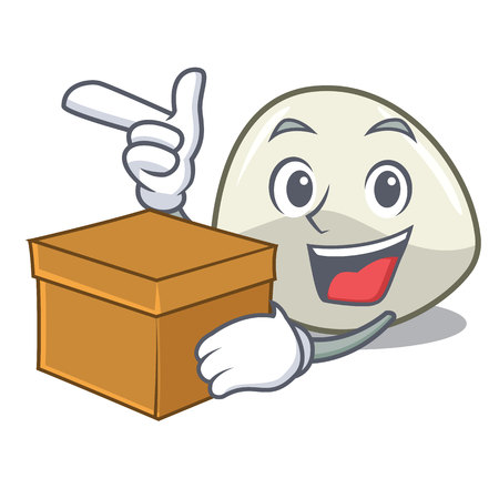 With box character cartoon fresh mozzarella cheese slices vector illustration