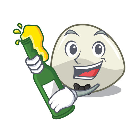 With beer mozzarella cheese isolated on mascot cartoon vector illustration