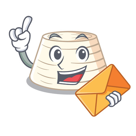 With envelope soft italian ricotta cheese character cartoon vector illustration Illustration