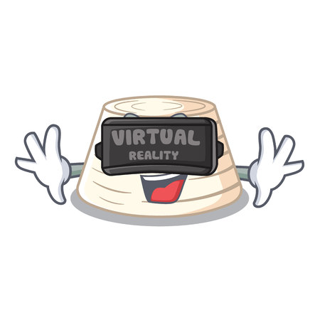 Virtual reality italian ricotta cheese on mascot cartoon vector illustration