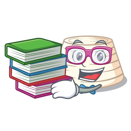 Student with book fresh ricotta cheese on mascot cartoon vector illustration Stock Illustratie