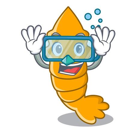 Diving fresh raw shrimps on character cartoon vector illustration Çizim