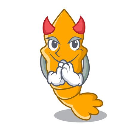 Devil cooked shrimps isolated on mascot cartoon vector illustration Illustration