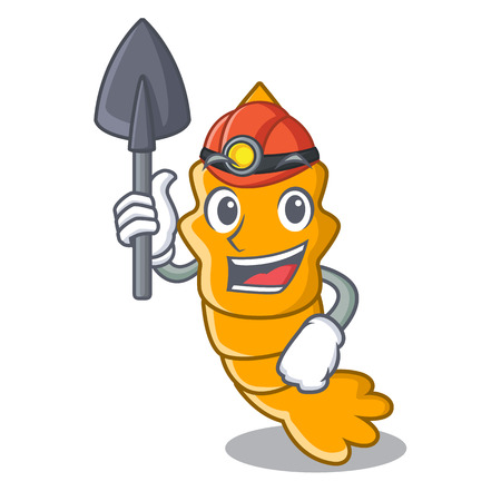 Miner cooked shrimps isolated on mascot cartoon vector illustration