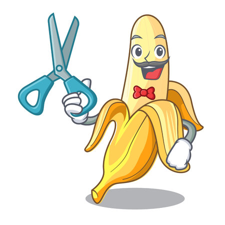 Barber ripe banana isolated on character cartoon vector illustration