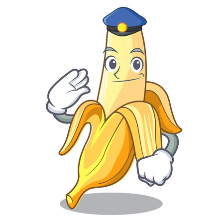 Police ripe banana isolated on character cartoon vector illustration