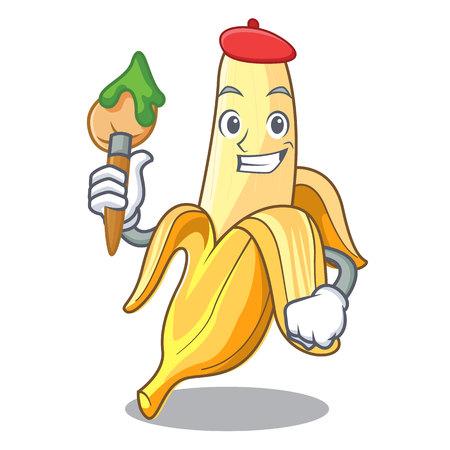 Artist ripe banana isolated on character cartoon vector illustration