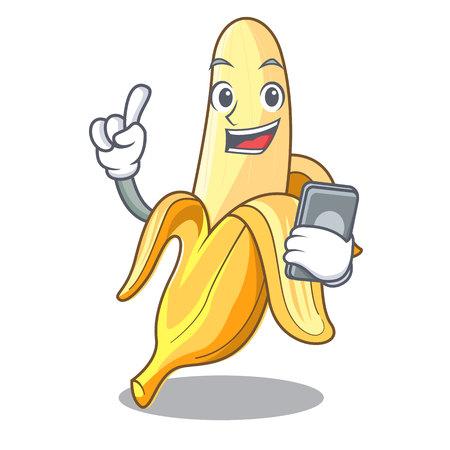 Con plátano maduro de teléfono aislado en la ilustración de vector de dibujos animados de personaje