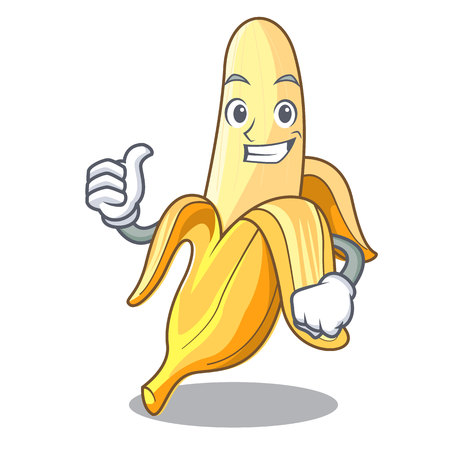 Thumbs up character banana in the fruit market vector illustration