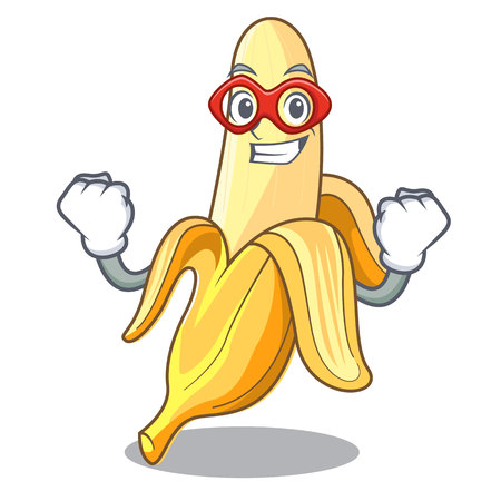 Super hero character banana in the fruit market vector illustration