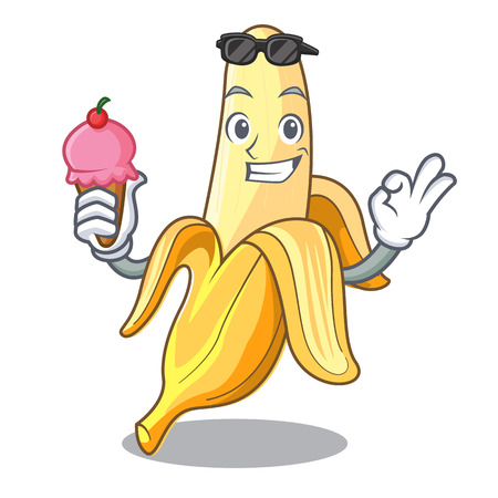 With ice cream character banana in the fruit market vector illustration