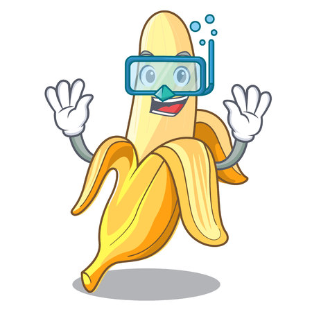 Diving character banana in the fruit market vector illustration