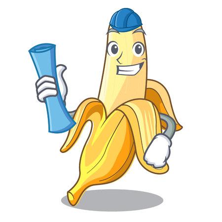Architect character banana in the fruit market vector illustration