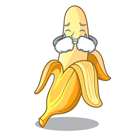 Crying fresh banana fruit mascot cartoon style vector illustration