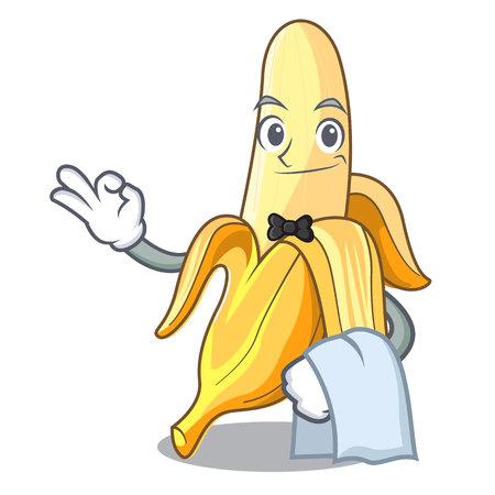 Waiter fresh banana fruit mascot cartoon style vector illustration
