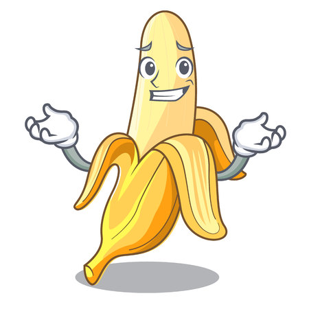 Grinning character banana in the fruit market vector illustration