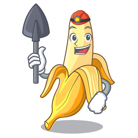 Miner fresh banana fruit mascot cartoon style vector illustration