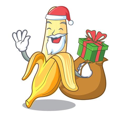 Santa con regalo sabroso plátano fresco mascota estilo de dibujos animados ilustración vectorial
