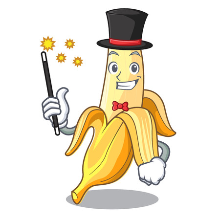 Magician tasty fresh banana mascot cartoon style vector illustration