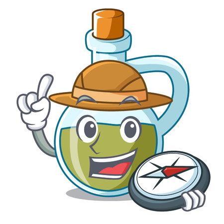Explorer mascot cartoon fresh organic olive oil vector illustration