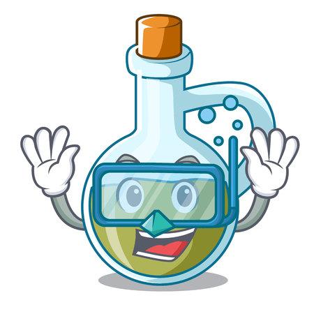 Diving glass bottle premium olive oil character vector illustration