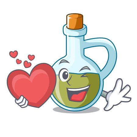 With heart mascot cartoon fresh organic olive oil vector illustration