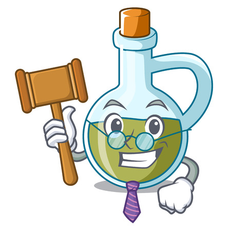 Judge small bottle of olive oil mascot vector illustration Illustration