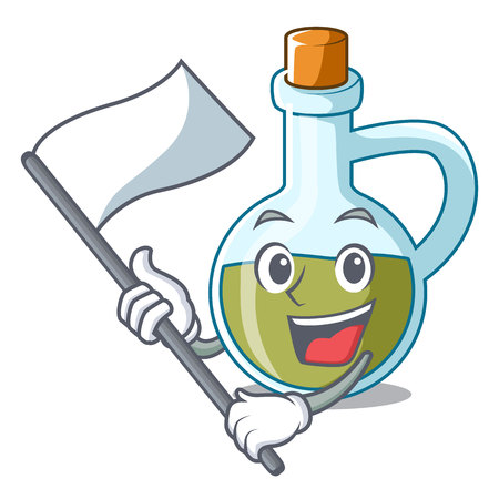 With flag small bottle of olive oil mascot vector illustration