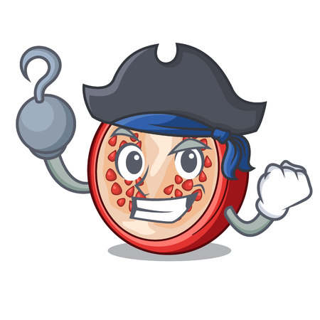 Pirate pomegranate slice isolated on character cartoon vector illustration
