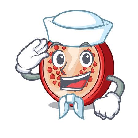 Sailor pomegranate slice isolated on character cartoon vector illustration