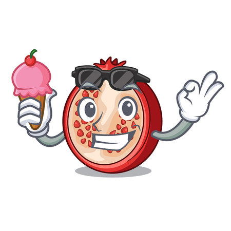 With ice cream slice of ripe pomegranate character cartoon vector illustration