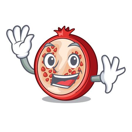Waving slice of ripe pomegranate character cartoon vector illustration