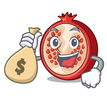 With money bag pomegranate slice isolated on character cartoon vector illustration