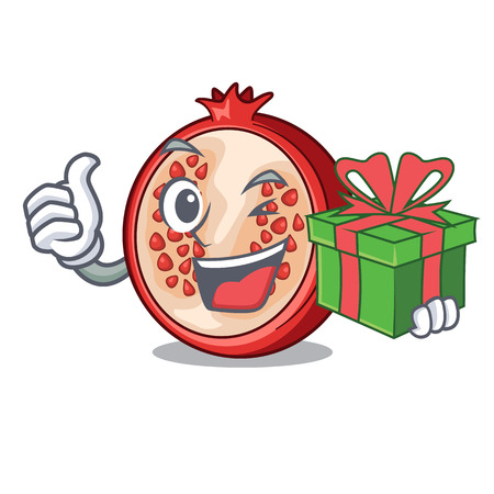 With gift mascot half of fresh pomegranate fruits vector illustration