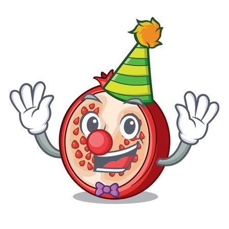 Clown cartoon fresh pomegranate and its half vector illustration