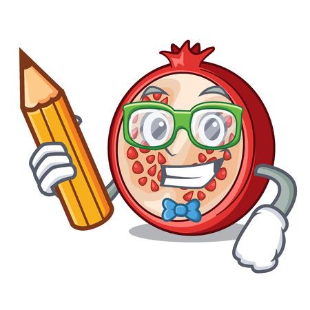 Student slice of ripe pomegranate character cartoon vector illustration