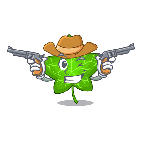 Cowboy ivy leaf isolated on character cartoon vector illustration